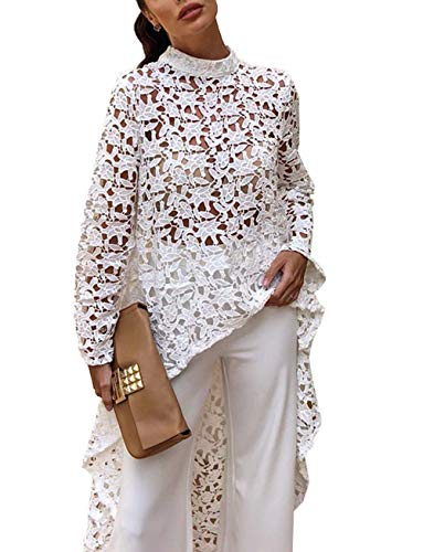 Puedo Women's Lantern Long Sleeve Round Neck High Low Asymmetrical Hem Casual Tunic Tops Blouse Shirt Dress, White, Large