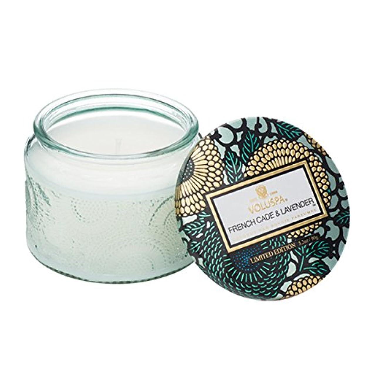 行商燃料古くなったVoluspa ボルスパ ジャポニカ リミテッド グラスジャーキャンドル  S フレンチケード&ラベンダー FRENCH CADE LAVENDER  JAPONICA Limited PETITE EMBOSSED Glass jar candle