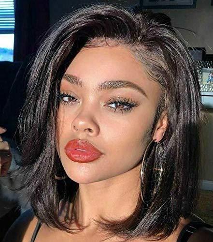 Natural Black 13x4 Short Bob Lace Front Wigs Human Hair Pre Plucked Brazilian Remy Virgin Black 1B Short Human Hair Lace Front Wigs For Women Straight 13x4 Bob Lace Frontal Wigs Human Hair 130%, 14''