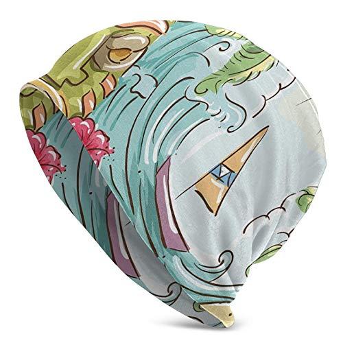 AEMAPE Marco Circular con Acentos Tropicales Dibujos Animados Playa Tiki Estatua Ilustración Tema Beanie Cap Gorro de Punto Gorro de Calavera Pullover Cap