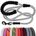 "MayPaw Heavy Duty Rope Dog Leash, 1/2"" x 6FT Nylon Pet Training Leash, Soft Padded Handle Thick Lead Leash for Large Medium Dogs (1/2"" 6', White)"