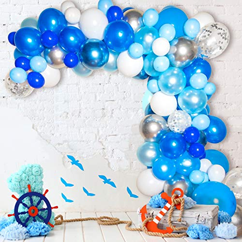 Bloonsy Blue Balloon Garland Kit | Balloon Arch Kit with Blue and White Balloons | 120 Pack | Silver Confetti, Navy Blue, Royal Blue Balloons | Blue & Silver Baby Shower Boy Party Decorations Backdrop