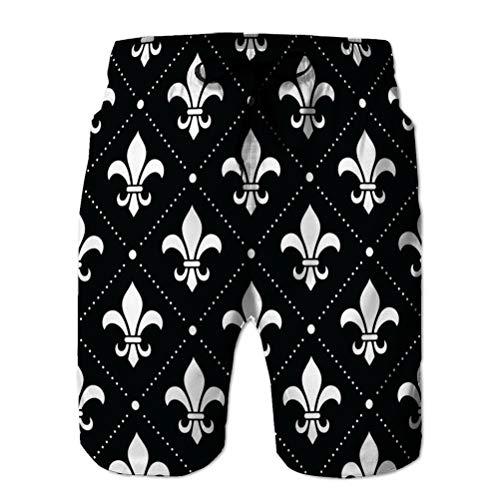 Pantalones Cortos de Verano para Hombre Pantalones Cortos Casuales Fondo de Damasco francés Patrón de Flor de lis M