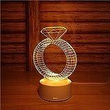 wangzj Night Lights Lámpara de noche Luces de habitación Lámpara de regalo 3D Girl diamond Lámpara de escritorio Birthday Girl birthday present