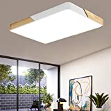 BRIFO 72W Lámpara De Techo LED De Madera Regulable,Lámpara De Techo Para Salón,Sala De Estar, Cocina,Regulable (3000-6500K) Con Control Remoto (72W Blanco Regulable)