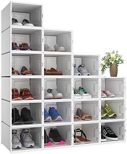 YITAHOME L Shoe Box Set of 18 Shoe Storage Organizers Heavy Duty Stackable Clear Shoe Storage product image