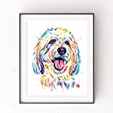 Goldendoodle Wall Art by Whitehouse Art | Golden Doodle Dad, Bedroom Decor, Dog Mom Gifts, Dog Decor| Professional Print of Goldendoodle Original Watercolor | Dog Memorial Gift | 5 Sizes