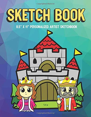 Sketch Book 8.5' X 11' Personalized Artist Sketchbook: Magic Kingdom with King and Queen, Purple Pink Blue Pixel Background Design