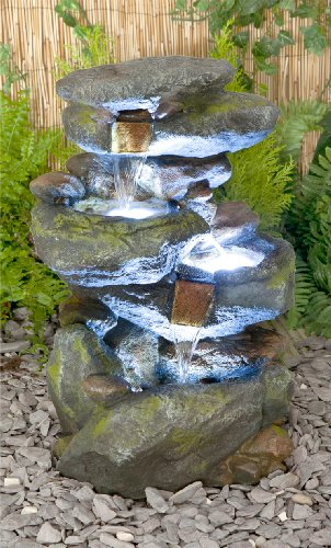 55cm Bekko Falls 3 Tier Cascading Water Feature with LED Lights