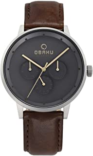 Obaku Men's Brown Venlig Cloud Watch V208Gmcjrn, Analog Display