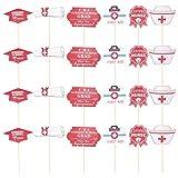 ABOOFAN 1 juego de 24 piezas Ceative Nursing School Graduación Photo Holder Accesorios Photo Booth Props Graduación Party Supplies (rojo blanco) Suministros de graduación