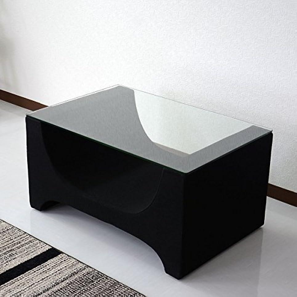 市民権十分なノベルティDORIS ガラステーブル おしゃれ 強化ガラス 幅76×奥行51cm ブラック ミニョン