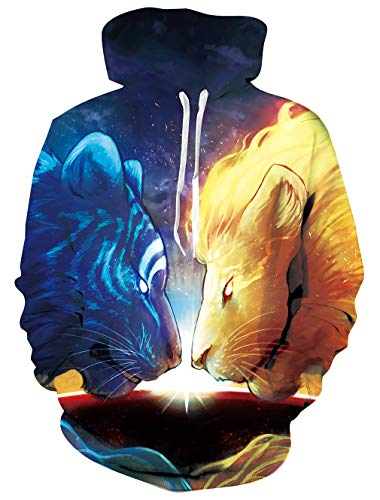 Loveternal Damen Hoodie Pullover Sweatshirts Neuheit 3D Druck Lion Hoodie Lustiger Langarm Kapuzenpullover Sweatshirt für Männer XL
