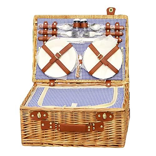 Cesta de picnic Mochila de Picnic Cesta de picnic de mimbre de lujo para 4, bolso de enfriador de mimbre de mimbre de sauce tradicional con 4 platos, 4 copa de plástico, 2 botellas de condimento, 1 sa