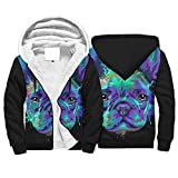 Chhome Adult Teen Hoodies Zip Up Hooded Sweatshirt French Bulldog Dog Black Stylish Outwear White Medium