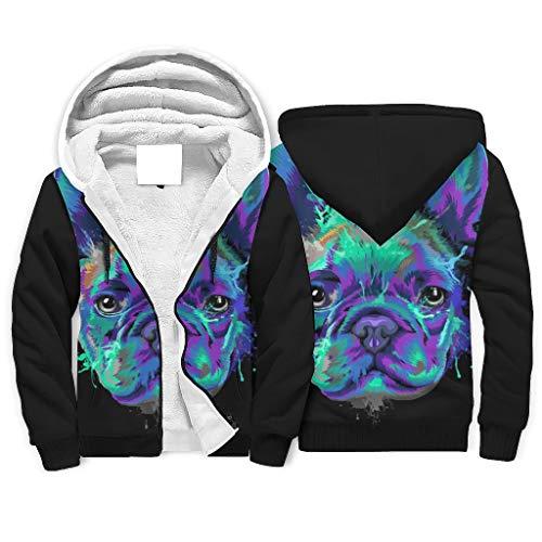 Chhome Womens Mens Hoodie Zipper Hooded Sweatshirts French Bulldog Dog Black Print 3D Jacket White XX-Large