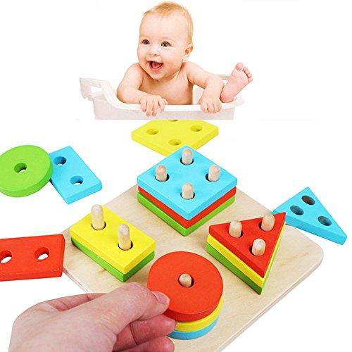 Mmrm Puzzle en Bois Géométrique Conseil de Tri Blocs de Construction pour Bébé Jouets Intelligence