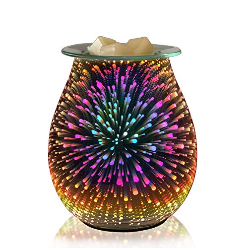 COKI Electric Candle Warmer, Glass Tart Burner with 3D Effect Night Light, Wax Melt Warmer for Home Office Bedroom, Aroma Decorative Lamp for Gifts & Decor (Fireworks)