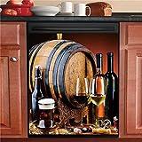 Dishwasher Cover Wine Grape Sticker Refrigerator Door Decals Cover Vintage Wine Fridge Panel Sheet,Home Cabinet Decor Appliances Stickers Wallpaper 23.5' x 26'