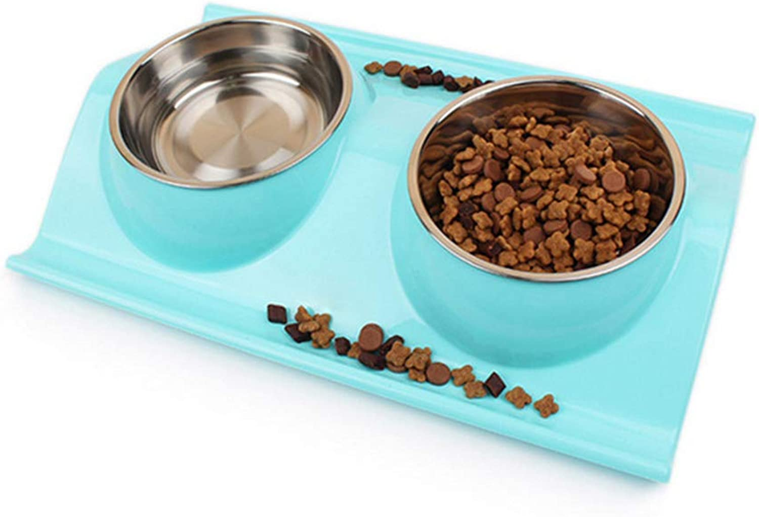 Double Stainless Steel Dog Cat Bowls with NonSpill Design, for Pet Food and Water Feeder Colour Name  Green bluee Pink