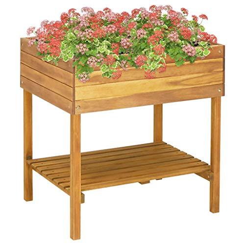 Festnight Hochkübel 78,5 x 58,5 x 78,5 cm Massivholz Akazie Blumenkasten Blumentopf Pflanzkübel Hochbeet