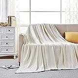 softan Tagesdecke 150 x 200 cm • Waffelpique leichte Sommerdecke aus 100prozent Baumwolle • Luftige Sofa-Decke vielseitig einsetzbar • Leicht zu pflegene Wohndecke • Baumwolldecke Farbe: Weiß