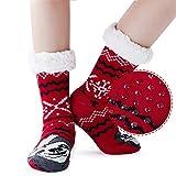 AIDEAONE Chaussettes de Noël pour femmes - Chaussettes d'intérieur d'intérieur chunky doublées de polaire