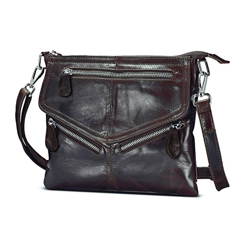 Lecxci Women's Small Vintage Leather Cross body Handbags, Zipper Travel Crossbody Bags Purses for Women (chocolate)