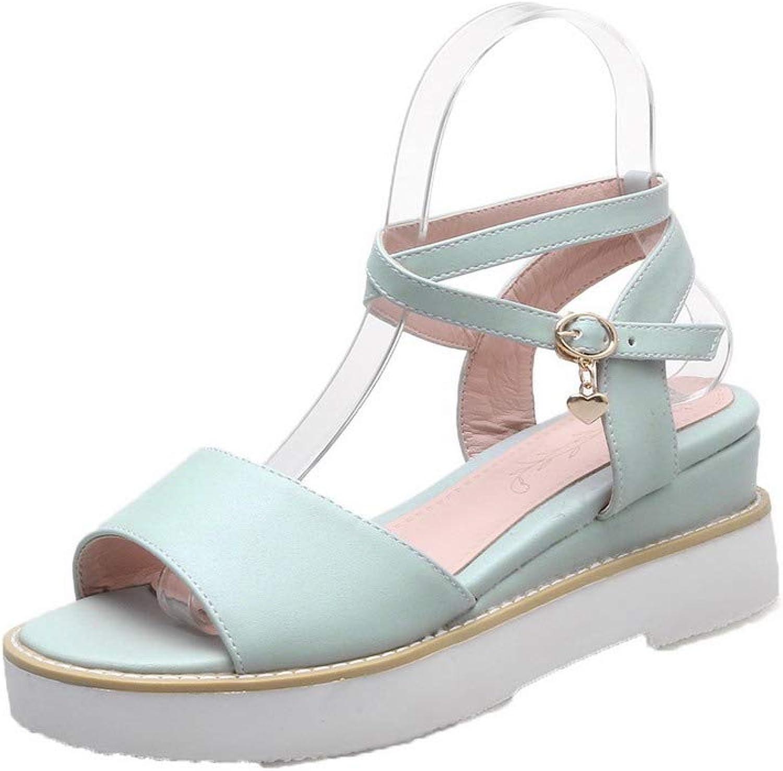 WeiPoot Women's Pu Open-Toe Kitten-Heels Buckle Solid Sandals, EGHLH007537
