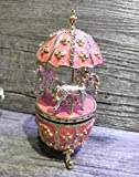 znewlook Floral Egg with Horse Carousel Trinket Box Easter Egg Horse Carousel...