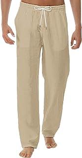 Cotton Linen Pants for Men Summer, Comfortable Loose Drawstring Trousers Sleep Lounge Pajamas Bottoms,a37