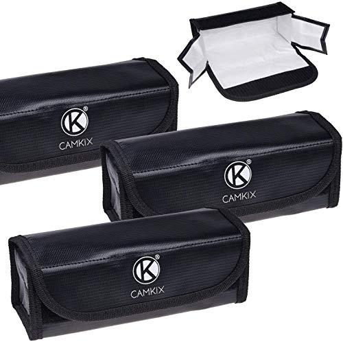 CamKix® grote brandvaste LiPo-accu-tassen - 3-pack - veiligheids- en opbergtas - voor veilig laden en transport - 19,5 x 6,5 x 7,5 cm - ideale oplossing voor handbagage van vliegtuig.