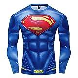 GYM GALA Men's Superman 3D Printed Compression Sport Fitness T-Shirt (3XL, Blue C)