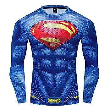 GYM GALA Men s Superman 3D Printed Compression Sport Fitness T-Shirt  XXL Blue C