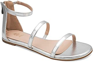 tresmode Women's Metallic Silver Dual Strap Flat Sandals