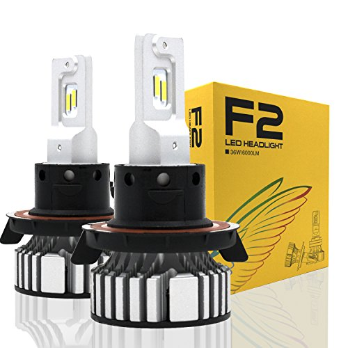 Alla Lighting D-CR 9000lm 9008 H13 LED Headlight Bulbs Xtreme Super Bright CREE LED H13 Bulb Xenon White H13 9008 LED Headlamp Conversion Kits -Dual Hi/Lo Beam Headlight (Set of 2)
