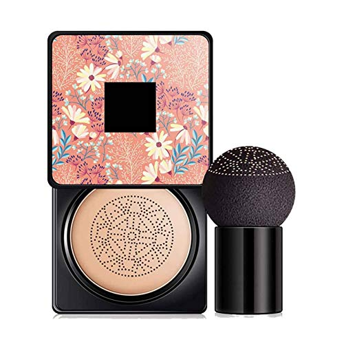 Air Cushion Mushroomhead CC Cream, Nude Makeup Moisturizing Brightening BB Cream Liquid Foundation Cover Concealer, Water Feeling Flawless Even Skin Tone (Natural)