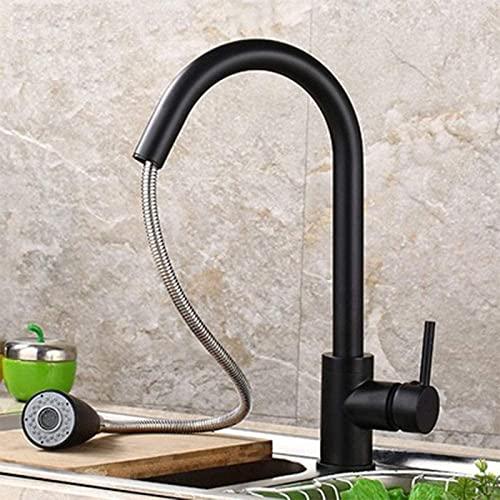 Qianglin Impresionante Grifo de Cocina Mezclador extraíble Negro Lavabo frío y Caliente Grifo de baño Revestimiento Multicapa, Seguro y Duradero Moderno