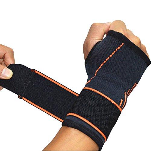 Supporto di sostegno per il polso regolabile a fascia media compressione a manica con stecche nel tutore sul pollice per tunnel carpale, per alleviare l'artrite e la tendinite colore nero, Uomo, 2 pcs