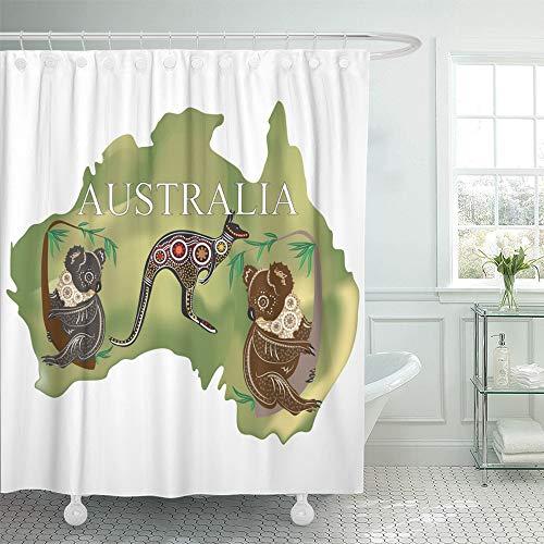 Emvency Cortina de Ducha Impermeable con diseño de mapamundi de Fauna Australia Koala Kangaroo Animal Australiano Cartoon Continent Flora Home Decor de Tela de poliéster Ajustable con Gancho