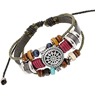 Oyedens Vintage Bohemia Beaded Multilayer Hand Woven Bracelet Snap Jewerly:Anders-als-andere