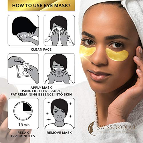 51tMZaaksRL - Under Eye Patches For Puffy Eyes 24k Gold Eye Mask For Dark Circles And Puffiness Collagen Eye Gel Pads Moisturizing & Reducing Wrinkles Anti-Aging Hyaluronic Acid