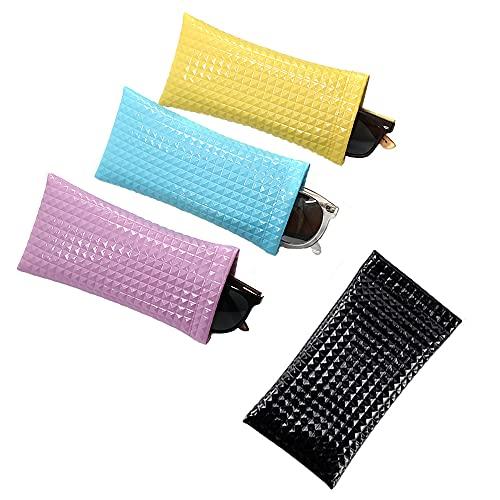 4 Piezas Estuche para Gafas, Estuche Portátil para Gafas, Estuche Blando para Gafas, Prueba de Agua Estuche Cuero para Anteojos para Gafas de Sol, Gafas de Natación y Anteojos (4 Colores)