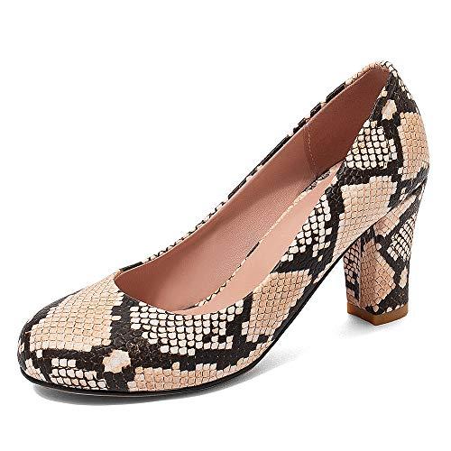 FOLOPOBO Damen Mode Blockabsatz Pumps Runde Zehen Kleid Schuhe Ohne Verschluss Party Pumps Apricot Size 41 Asian