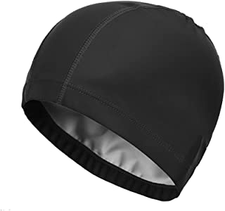 SUPOW® Swimming Cap,  New Flexible Durable PU Diving Hat Swimming Equipment Hats Water-Proof Swim Caps Protective Ear Caps Adult Man And Women Unisex Swimming Cap Extra Large Long Hair Swimming Cap Swimming Hat