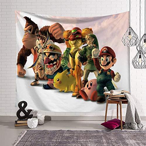 Tapiz negro Super Mario para pared Tapiz de pared para dormitorio (130 x 150 cm)