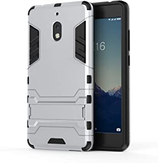 FanTing Case for Nokia 2.1, Rugged and shockproof,with mobile phone holder, Cover for Nokia 2.1-White
