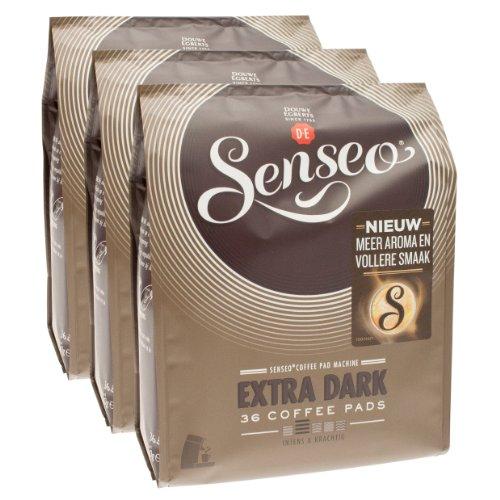 Senseo Kaffeepads Extra Dark / Extra Kräftig, Intensiver und Vollmundiger Geschmack, Kaffee, neues Design, 3er Pack, 3 x 36 Pads