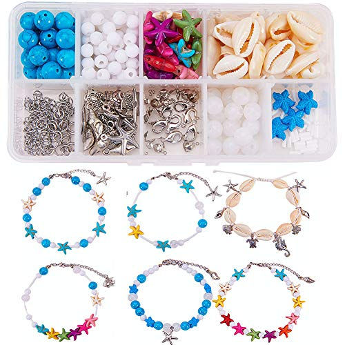 SUNNYCLUE DIY 6Pcs Boho Shell Beads Beach Charm Ankle Bracelet Making Kit Foot Chain Sandal Beads Anklets Adjustable Foot Jewelry Making with Starfish Sea Turtle Charms Turquoise Stone, Instruction