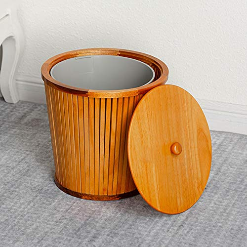 Garbage Bin for Kitchen, Office, Home Solid Wood Trash Can with Lid Household Wooden Garbage Can Creative Round Wastebasket Recycling Bin, 12L/3.1 Gallon, 3 Colors Silent and Gentle Open and Close